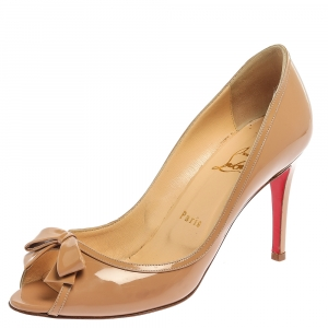 Christian Louboutin Beige Patent Leather Milady Peep Toe Pumps Size 38