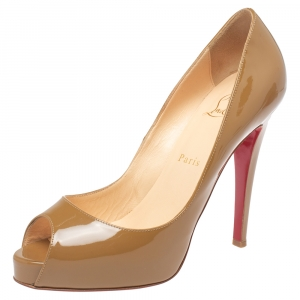Christian Louboutin Beige Patent Leather Very Prive Peep Toe Pumps Size 38