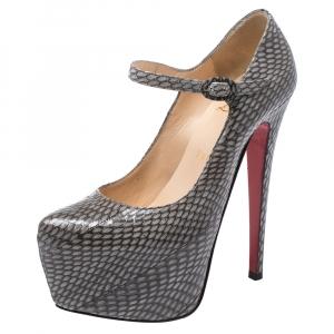 Christian Louboutin Grey Snakeskin Effect Leather Lady Daf Mary Jane Platform Pumps Size 36.5