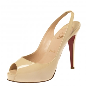 Christian Louboutin Cream White Patent Leather Private Number Peep Toe Slingback Sandals Size 38 - used