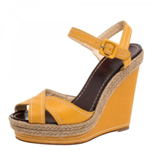 Christian Louboutin Yellow Leather Almeria Cross Strap Espadrille Wedge Sandals Size 38
