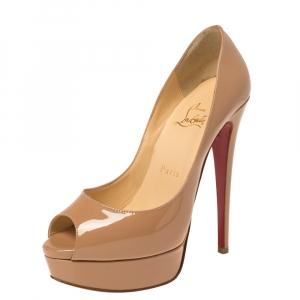 Christian Louboutin Beige Patent Leather Lady Peep Toe Platform Pumps Size 36.5