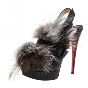 Christian Louboutin Black Leather And Fox Fur Splash Peep Toe Platform Pumps Size 39.5
