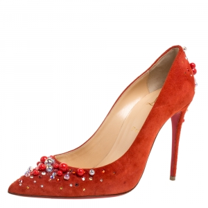 Christian Louboutin Orange Suede Leather Pearl Embellished Pop Pointed Toe Pumps Size 39