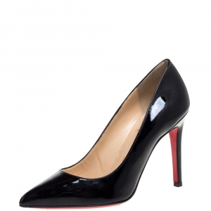 Christian Louboutin Black Patent Leather Pigalle Pumps Size 35.5