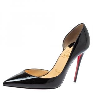 Christian Louboutin Black Patent Leather Iriza D'orsay Pumps Size 37.5