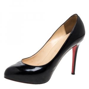 Christian Louboutin Black Patent Leather Simple Pumps Size 38.5
