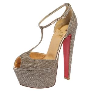 Christian Louboutin Gold Glitter Fabric Nencheritza T Strap Platform Sandals Size 35.5