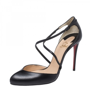 Christian Louboutin Leather Uptown D'orsay Ankle Strap Pumps Size 38.5