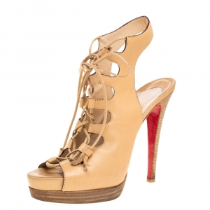 Christian Louboutin Beige Leather Miss Fortune Cutout Ankle Wrap Platform Sandals Size 38