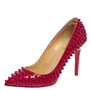 Christian Louboutin Magenta Patent Leather Pigalle Spikes Pumps Size 38