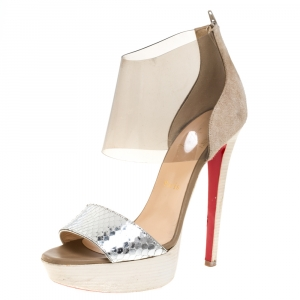 Christian Louboutin Metallic Silver Python Leather and PVC Dufoura Platform Sandals Size 38 - used