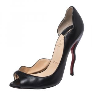 Christian Louboutin Black Leather And PVC Trim Deepik D'orsay Peep Toe Pumps Size 37