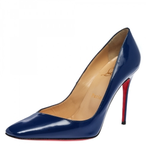 Christian Louboutin Blue Patent Leather Pumps Size 37