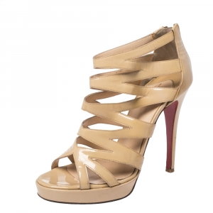 Christian Louboutin Beige Patent Leather Cage Zipper Sandals Size 38