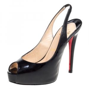 Christian Louboutin Black Patent Leather Vendome Slingback Pumps Size 35.5