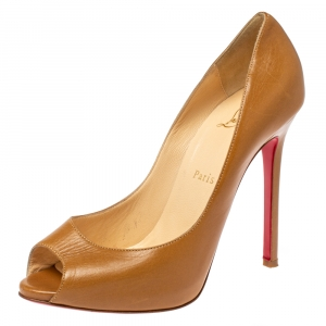 Christian Louboutin Beige Leather Very Prive Peep Toe Pumps Size 38.5