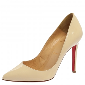 Christian Louboutin Cream Leather So Kate Pointe Toe  Pumps Size 37