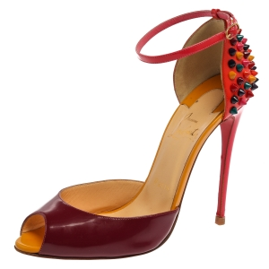 Christian Louboutin Purple/Orange Patent Leather Pina Spike Peep Toe Sandals Size 38 - used