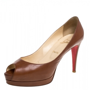 Christian Louboutin Brown Leather New Prive Platform Pumps Size 40