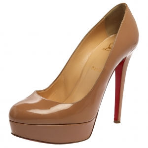 Christian Louboutin Beige Patent Leather Bianca Pumps Size 40