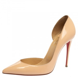 Christian Louboutin Beige Patent Leather Iriza Pumps Size 39