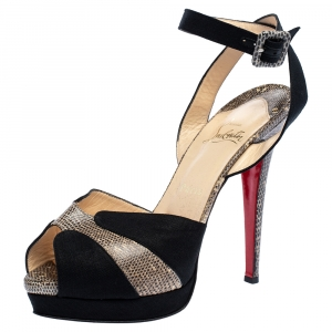 Christian Louboutin Black Canvas And Double Moc Lizard Leather Platform Ankle Strap Sandals Size 38.5