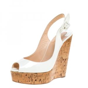 Christian Louboutin White Patent Leather Une Plume Cork Wedge Platform Peep Toe Slingback Sandals Size 39