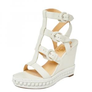 Christian Louboutin White Leather Rock N Buckle Wedge Platform Espadrilles Sandals Size 39