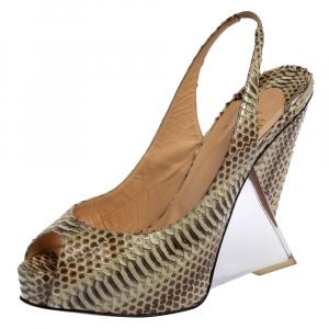 Christian Louboutin Beige Python Leather Rosemin Ayer Peep Toe Slingback Wedge Sandals Size 40 - used