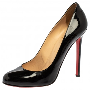 Christian Louboutin Black Patent Leather Simple Round Toe Pumps Size 40