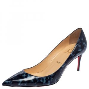 Christian Louboutin Blue Patent Leather Tartaruga Pointed Toe Pumps Size 38.5