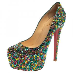 حذاء كعب عالي كريستيان لوبوتان دافوديل كريستال متعدد الألوان نعل سميك مقاس 38