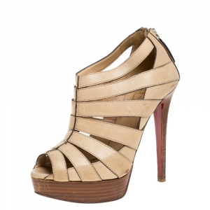 Christian Louboutin Light Beige Leather Strappy Platform Booties Size 36 - used