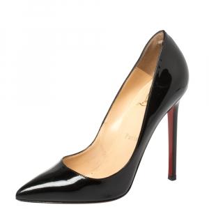 حذاء كعب عالى كريستيان لوبوتان كيت جلد لامع أسود مقاس 36