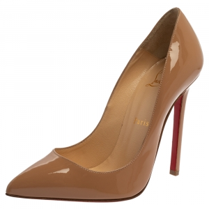 Christian Louboutin Beige Patent Leather Pigalle Follies Pointed Toe Pumps Size 37.5