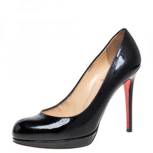حذاء كعب عالى كريستيان لوبوتان نعل سميك سيمبل جلد لامع أسود مقاس 37.5