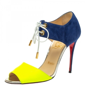Christian Louboutin Navy Blue/Green Suede and Leather Mayerling Lace Up Sandals Size 37.5 - used