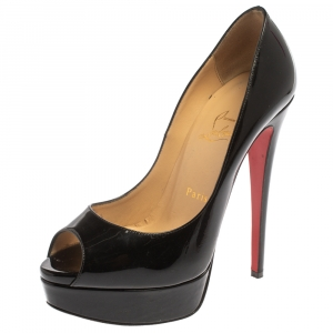 Christian Louboutin Black Patent Leather Lady Peep Pumps Size 37