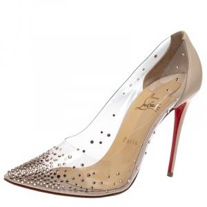 حذاء كعب عالي كريستيان لوبوتان بي في سي وجلد ديغراستراس كريمي مقدمة مدببة مقاس 40