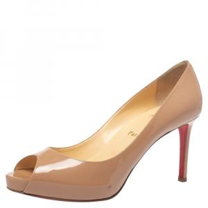 """حذاء كعب عالي كريستيان لوبوتان """"نيو فيري بريفي"""" مقدمة مفتوحة جلد لامع بيج مقاس 39"""