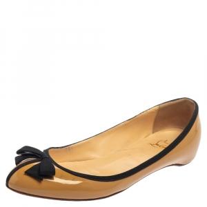 Christian Louboutin Beige Patent Leather Balinodono Bow Ballet Flats Size 38 - used