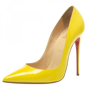 Christian Louboutin Yellow Patent Leather So Kate Pointed Toe Pumps Size 41