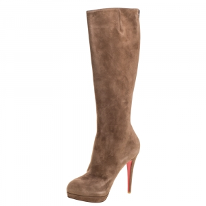Christian Louboutin Brown Suede Alti Botte Knee Length Boots Size 38.5