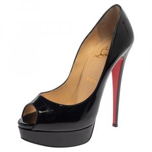 حذاء كعب عالى كريستيان لوبوتان نعل سميك مقدمة مفتوحة ليدى جلد لامع أسود مقاس 39.5