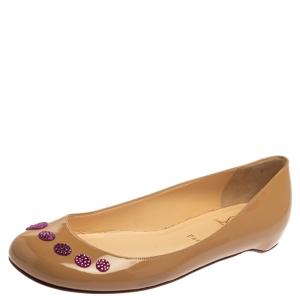 """حذاء باليرينا فلات كريستيان لوبوتان """"كاواي"""" جلد لامع بيج مقاس 38.5"""