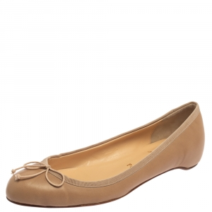 Christian Louboutin Beige Leather Bow Ballet Flats Size 37.5