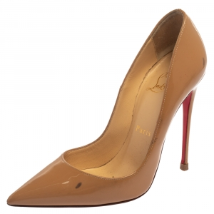 Christian Louboutin Beige Patent Leather So Kate Pumps Size 35.5