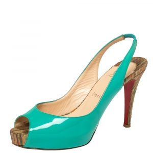 Christian Louboutin Green Patent Leather Private Number Peep Toe Slingback Sandals Size 37.5 - used