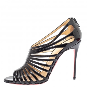 Christian Louboutin Black Leather Mul Tibrida Strappy Sandals Size 38 - used